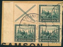 1930, NOTHILFEsenkrechter Zusammendruck X / ( Mit Weiterem Paar 8/8 Pfg. Im GestempeltenViererblock Auf Briefstück - Se-Tenant