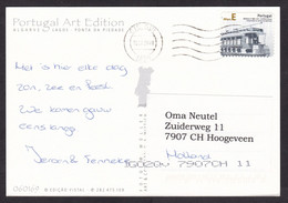 Portugal: Picture Postcard To Netherlands, 2008, 1 Stamp, Tram Trolley Car, Public Transport, E Rate (traces Of Use) - Covers & Documents
