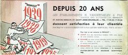 Buvard Voiture RENAULT 1939. Vandertaelen Et Fils. Bruxelles-Saint-Josse. - Automotive