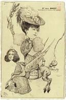 Illustrateur : Orens, 1905. Julia BARTET, Chevalière De La Légion D'Honneur. Carte Eau-Forte, Orens Théatre . Satire. - Orens