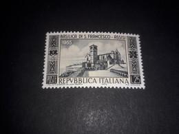 "ITAMIX2 REPUBBLICA ITALIANA 1955 7'' CENTENARIO BASILICA DI SAN FRANCESCO D'ASSISI ""XX"" - 1946-60: Mint/hinged"