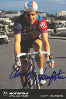 CARTE CYCLISME ANDY HAMPSTEN SIGNEE TEAM MOTOROLA 1991 - Cycling