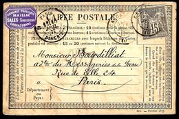 PARIS - 1877 - TYPE SAGE - LIBRAIRIE MAILLAC... - Tarjetas Precursoras