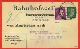 """1943 DEUTSCHE DIENSTPOST: Niederlande, Adressträger Bahnhofszeitungen """"Amsterdam-Osnabrück"""" - Covers"""