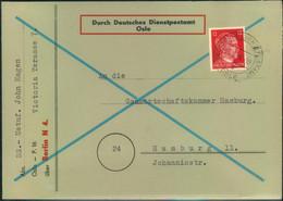 1944 DEUTSCHE DIENSTPOST: Oslo, Norwegen,Fernbrief Mit SS-Absender Via Berlin N4 Nach Hamburg - Covers