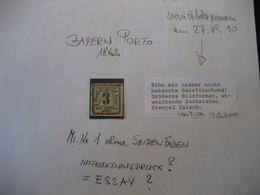 Altdeutschland Bayern 1862- Portomarke MiNr. 1 Ohne Seidenfaden (siehe Dazu Text Von P. Sem 2010) - Bayern (Baviera)