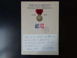 Médaille De La Résistance Française, 30 ème Anniversaire De La Libération Oblitération Du 23 Novembre 1974 - Otros