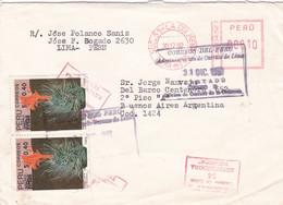PERU. ENVELOPPE. CIRCULEE LA COLMENA, LIMA A BUENOS AIRES, ARGENTINA. ANNEE 1992.- LILHU - Peru