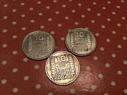 LOT 3 PIÈCES 10F TURIN ARGENT 1932-30-30 - K. 10 Francs