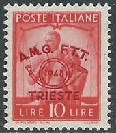 1948 TRIESTE A CONVEGNO FILATELICO 10 LIRE MNH ** - RE15-6 - Mint/hinged
