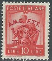 1948 TRIESTE A CONVEGNO FILATELICO 10 LIRE MNH ** - RE20-5 - Mint/hinged