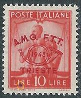 1948 TRIESTE A CONVEGNO FILATELICO 10 LIRE VARIETà PUNTO NERO MNH ** - RE5-10 - Mint/hinged