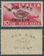 1948 TRIESTE A POSTA AEREA CONVEGNO FILATELICO 10 LIRE DECALCO MNH ** - RE2-8 - Airmail