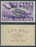 1948 TRIESTE A POSTA AEREA CONVEGNO FILATELICO 50 LIRE DECALCO MNH ** - RE1-8 - Airmail