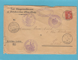 ALSACE RECONQUISE.  COMMUNE DE BITSCHWEILER. ENVELOPPE ALLEMANDE AVEC DIFFERENTS CACHETS.1915. - Oorlog 1914-18