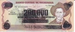 BILLETE DE NICARAGUA DE 200000 CORDOBAS DEL AÑO 1990 SIN CIRCULAR (UNCIRCULATED)  (BANK NOTE) POLIMERO - Nicaragua