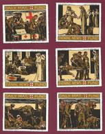 010421 - ERINOPHILIE MILITARIA 1914 18 WW1 CROIX ROUGE - 6 VIGNETTE EVENING NEWS FUND Infirmière Blessé Poilu - Militario
