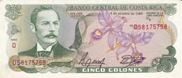 BILLETE DE COSTA RICA DE 5 COLONES DEL AÑO 1989  SIN CIRCULAR  (BANKNOTE) UNCIRCULATED - Costa Rica