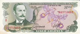 BILLETE DE COSTA RICA DE 5 COLONES DEL AÑO 1992  SIN CIRCULAR  (BANKNOTE) UNCIRCULATED - Costa Rica