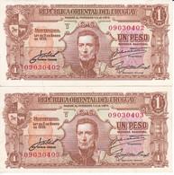 PAREJA CORRELATIVA DE URUGUAY DE 1 PESO DEL AÑO 1939 CALIDAD EBC (XF) (BANKNOTE) - Uruguay