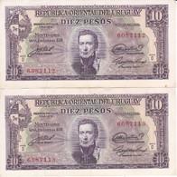 PAREJA CORRELATIVA DE URUGUAY DE 10 PESOS DEL AÑO 1939 CALIDAD EBC (XF) (BANKNOTE) - Uruguay