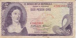 BILLETE DE COLOMBIA DE 2 PESOS DE ORO DEL AÑO 1972  (BANK NOTE) - Colombia