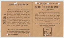 Carte Hebdomadaire De Travail Pour Le Ch De Fer Métropolitain De Paris Ligne De Sceaux  (Personne De Bourg La Reine) - Cartoncini Da Visita