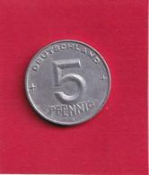 5 Pfennig - 1952 A - D.D.R . - R.D.A. - Allemagne De L'Est - - 5 Pfennig
