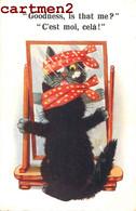 ILLUSTRATEUR CHAT NOIR BLACK CAT KAT HUMOUR HUMOR INTER-ART COMIQUE SERIES LONDON ILLUSTRATOR GLACE MIROIR - Katzen