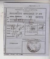 Biglietto Ticket Buillet Ferrovie Dello Stato Regno 1940 Roma  Lecce - Europe