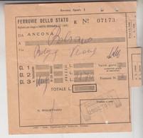 Biglietto Ticket Buillet Biglietto Ticket Ferrovie Dello Stato  1952  Bolzano  Bologna Verona - Europe