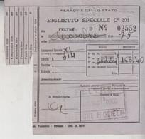 Biglietto Ticket Buillet  Ferrovie Dello Stato   Regno 1940  Feltre  Calalzo - Europe