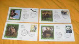 LOT 4 ENVELOPPES FDC DE 2009../ CACHETS ANIMAUX DISPARUS OU MENACES...LE CONDOR DE CALIFORNIE, LE RHINOCEROS, L'AUROCHS, - 2000-2009
