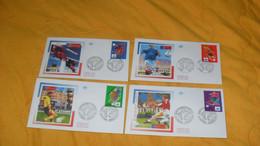 LOT 4 ENVELOPPES FDC DE 1996../ CACHETS COUPE DU MONDE DE FOOTBALL 1998..MONTPELLIER, ST ETIENNE, LENS, TOULOUSE + TIMBR - 1990-1999