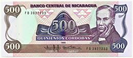Nicaragua - 500 Córdobas - 1985 ( 1988 ) - Unc. - Pick 155.a -  Prefix FB - Nicaragua