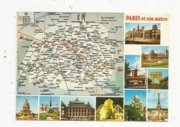 Cp , Chemin De Fer , Métropolitain, Plan De METRO De Paris ,75 ,  Multi Vues, écrite ,  R.A.T.P. - Subway