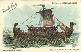 Illustrateur Charley NAVIRES ANCIENS ET MODERNES Drakkar Des Pirates Normands IXe Siecle Chocolat Louit RV - Sailing Vessels