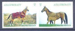2017. Turkmenistan, Horses, 2v In Strip, Mint/** - Turkmenistan