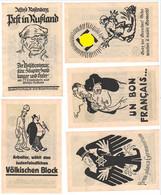RARE SET 5 WW2 Germany Nazi NSDAP Judaica Anti-Jewish Propaganda FORGERY Overprint On Genuine 1923 Banknote EF+ - Other