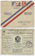 N° 138 LETTRE COVER LIGUE FRANCAISE MILITAIRE PUB AU DOS LENS 24.1.1913 + VIGNETTE CROIX ROUGE BLESSES MILITAIRES - 1877-1920: Semi-moderne Periode