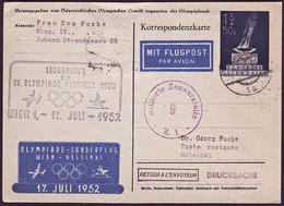Austria - 1952 - Olympic Games 1952 - Stationery Card  (olympic Fligh) - Sommer 1952: Helsinki