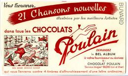 Buvard  21.6 X.13.5  Chocolat POULAIN  Chansons Bon Voyage M. Dumollet  Bâteau Trois Mats Voile Chien Parapluie - Cocoa & Chocolat