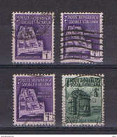 R.S.I.:  1944/45  MONUMENTI  DISTRUTTI  -  4  VAL. US. -  SASS. 509x3 + 511 - Gebraucht