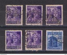 R.S.I.:  1944/45  MONUMENTI  DISTRUTTI  -  6  VAL. US. -  SASS. 507x5 + 510 - Gebraucht