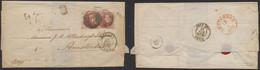 """Médaillon - N°12A En Paire Touchée Sur LSC Obl P23 çàd Bruges (1860) > Amsterdam + Ambulant """"Nord N°1"""" - 1858-1862 Medallions (9/12)"""