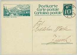 Schweiz / Helvetia 1929, Bildpostkarte Blaugrün Bad Ragaz / Das Dorfbad Arbon - Zürich - Termalismo
