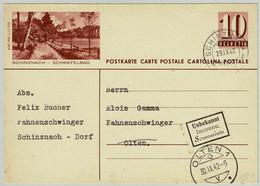 Schweiz / Helvetia 1942, Retournierte Bildpostkarte Schinznach - Schwefelbad Schinznach - Olten - Hydrotherapy
