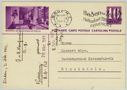 Schweiz / Helvetia 1943, Bildpostkarte Baden, Bäderstadt Bei Zürich Baden - Einsiedeln, Übereinstimmung Bild / Stempel - Hydrotherapy