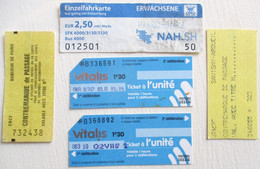 5 TICKETS DE TRANSPORT BUS TRAMWAY TISSEO CONTREMARQUE DE PASSAGE SNCF FRANCE - Europe
