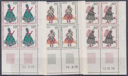 Cameroun N° 489 / 91 XX Poupées Camerounaises Les 3 Valeurs En Bloc De 4 Coin Daté, Sans Charnière, TB - Cameroon (1960-...)
